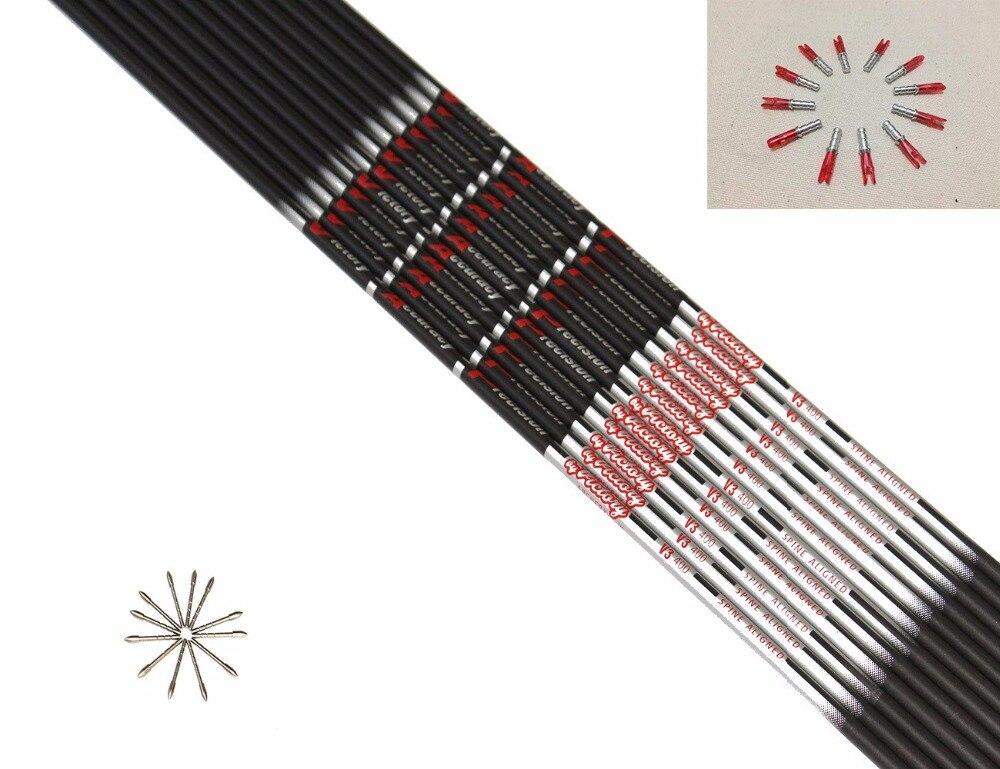 12ピース純粋な炭素矢印シャフトspine400/600/700/800/900 ID4.2 + 12ピースターゲットポイント+ 12ピースピンノック用diy矢印後ろに反らす弓  グループ上の スポーツ & エンターテイメント からの 弓矢 の中 1