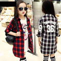 casual big girls plaid long shirt coats red black gray spring summer 2016 girl tops kids long sleeve letter shirts clothes