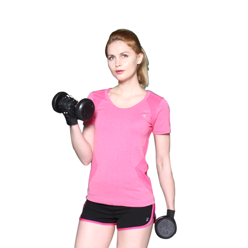 New Women Quick Dry Gym Sports T-shirt Yoga Tops Round Neck Short Sleeve Fitness Runnging Gymnastics Clothes Girl B024Z20