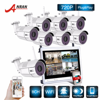 P2P CCTV 8CH NVR 12 Inch LCD Screen 36 IR Waterproof Network 720P IP Wireless Camera