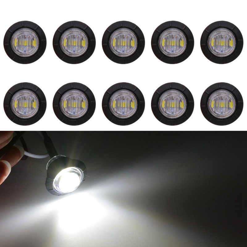 White Color 3/4 Inch Round LED Front Rear Side Marker Indicators Light Waterproof Bullet Clearance Light 12V for Car Truck