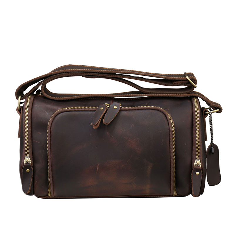 AETOO Crazy horse leather shoulder Messenger bag leather retro trend multi-pocket leather men bag
