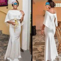 Evening Dresses With Cape 2019 Vestido De Festa White Evening Dress Elegant Long robe de soiree African Party Gowns Evening
