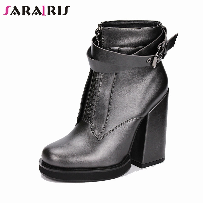 SARAIRIS Brand New Fashion Belt Buckle Zip Ladies High Heels Shoes Woman Casual Party Office Spring Autumn Ankle Boots