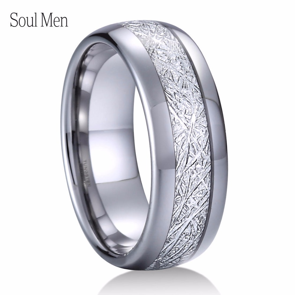 8mm Silver Metal Tungsten Carbide Ring with Meteorite Inlay Shiny Domed Finish Simple Wedding Ring for Men Size 8 to 13 black tungsten carbide with dark wood inlay mens wedding ring