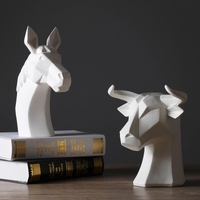 Nordic porch ornaments animal head decoration home creative geometry ceramic animal sculpture handicrafts decorative gifts