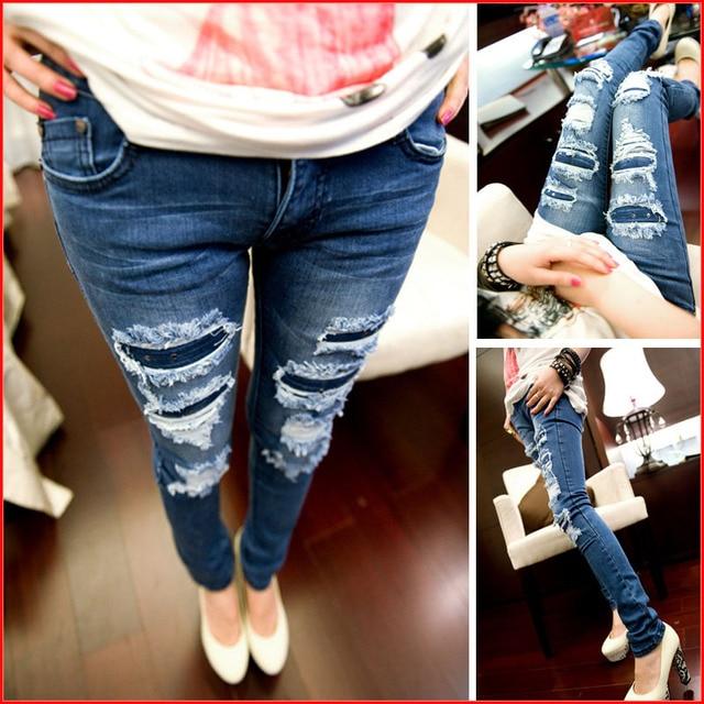 Blue Ripped Jeans 2016 Plus Size Jeans Woman Fashion New Boyfriend ...