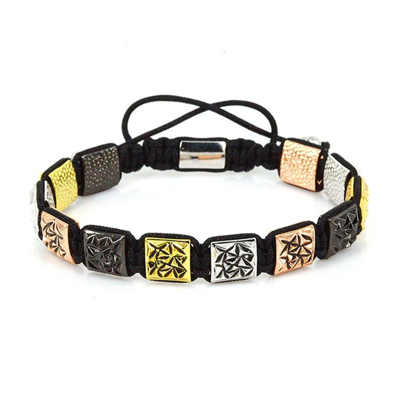 Anil Arjandas Men Bracelets 2017 New Design Jewelry Beads Square Charm Braiding Macrame Bracelet Pulseira Masculina ...
