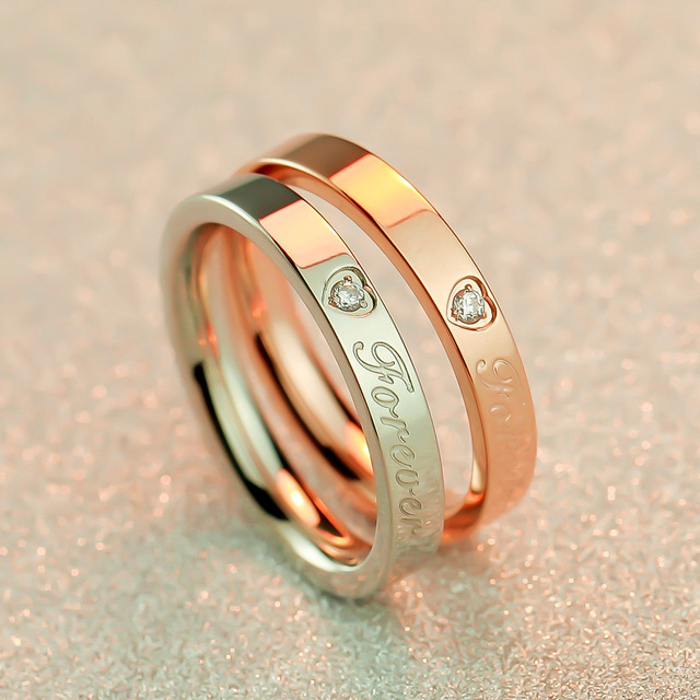 2015 New Luxury brand ring Jewelry Forever Love 18K rose Gold plated/Platinum Plated Women's jewelry Men and Women couple rings