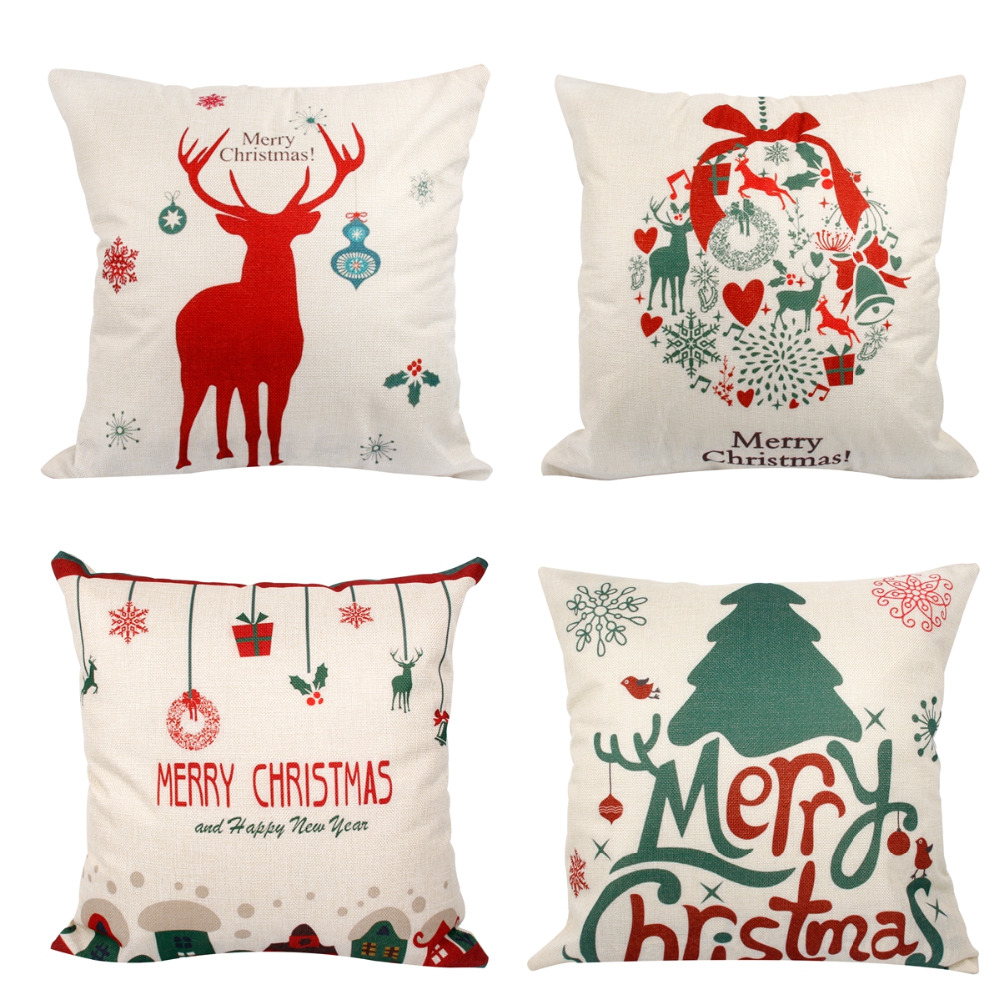 Throw Pillow Protective Covers : FENGRISE Merry Christmas Decorations for Home Christmas Tree Cushion Cover Pillow Case Throw ...