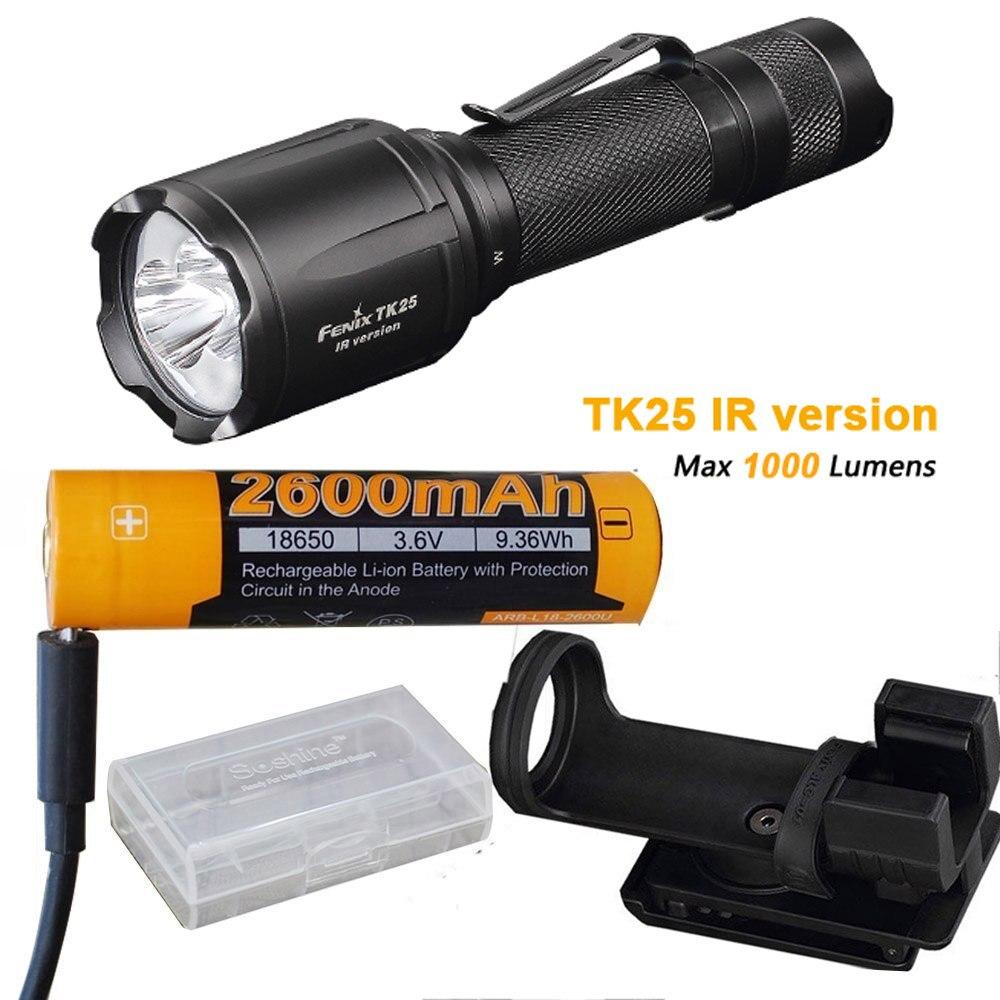 Fenix TK25 IR (TK25IR) 1000 Lumen LED 3000mW 850nm Infrared Tactical Flashlight with ARB-L18-2600U Battery ,Charge Cable
