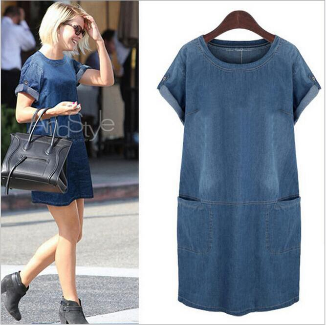 Summer Style Plus Size Denim Dress 2016 Catton Denim Women Clothing Solid O-Neck Short Sleeve Casual Mini Dress C15