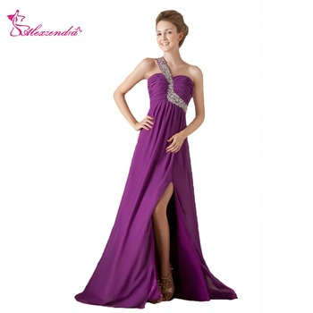 Alexzendra A Line Purple Chiffon One Shoulder Prom Dresses 2018 Beaded Crossed Back Long Formal Evening Dress Party Dresses