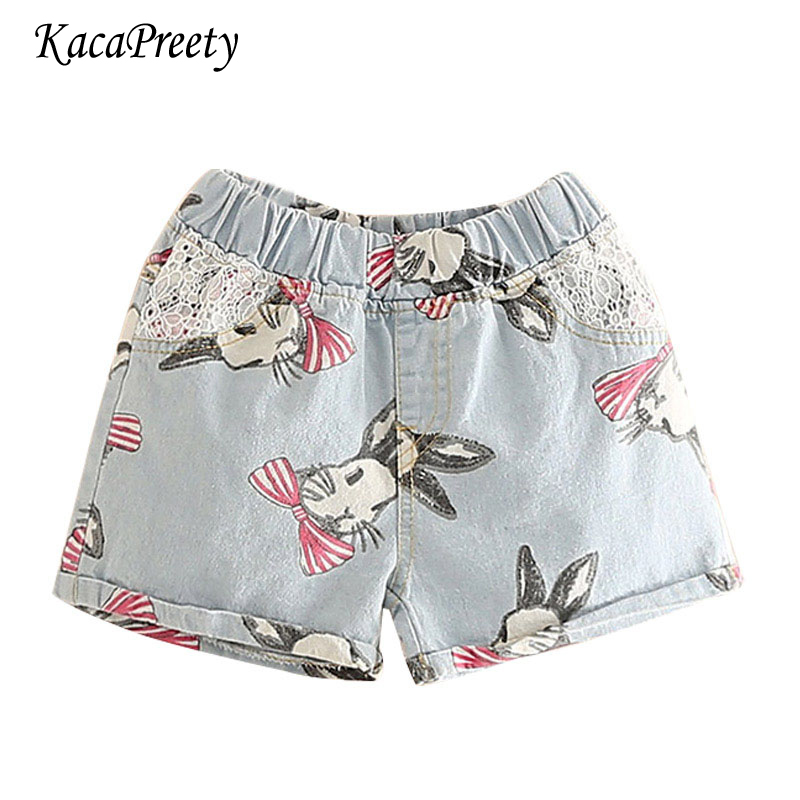 Cartoon Bunny Printing Short Pants Girls Summer Cozy Denim
