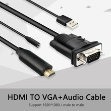 HDMI na VGA z adapterem audio adapter do kabla konwerter dekoder hdmi2vga projektor 1080P męski na męski na PC HDTV 1.8m(China)