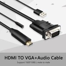 1080p HDMI Konverter zu VGA mit audio usb Kabel Stecker auf Stecker Adapter Konverter decoder hdmi2vga Projektor für PC HDTV 6 füße