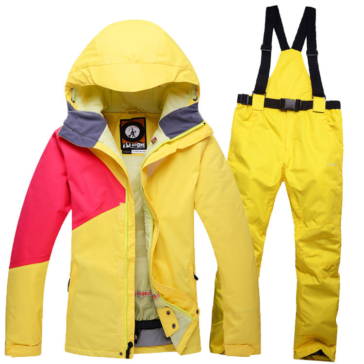 Colorful Cheap Snow Woman Ski snowboard  Girl Clothing skiing suit Set outdoor sports Costume Winter Jacket + Bib pant brands