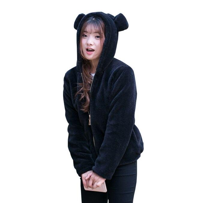 Women Sweatershirt Hoodies Coat Warm Fleece Hoodie Fashion Bear Ears Hooded Fur Thick Black