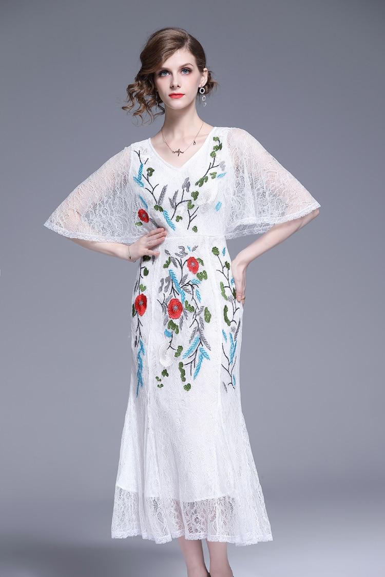 V-Neck Floral Embroidered Lace Dress 14