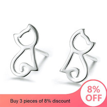 fashion Peace sign Aircraft Female Silver colour Cats Stud Earrings 2019 Cute Mini Stud Earring For women dropshopping Jewelry