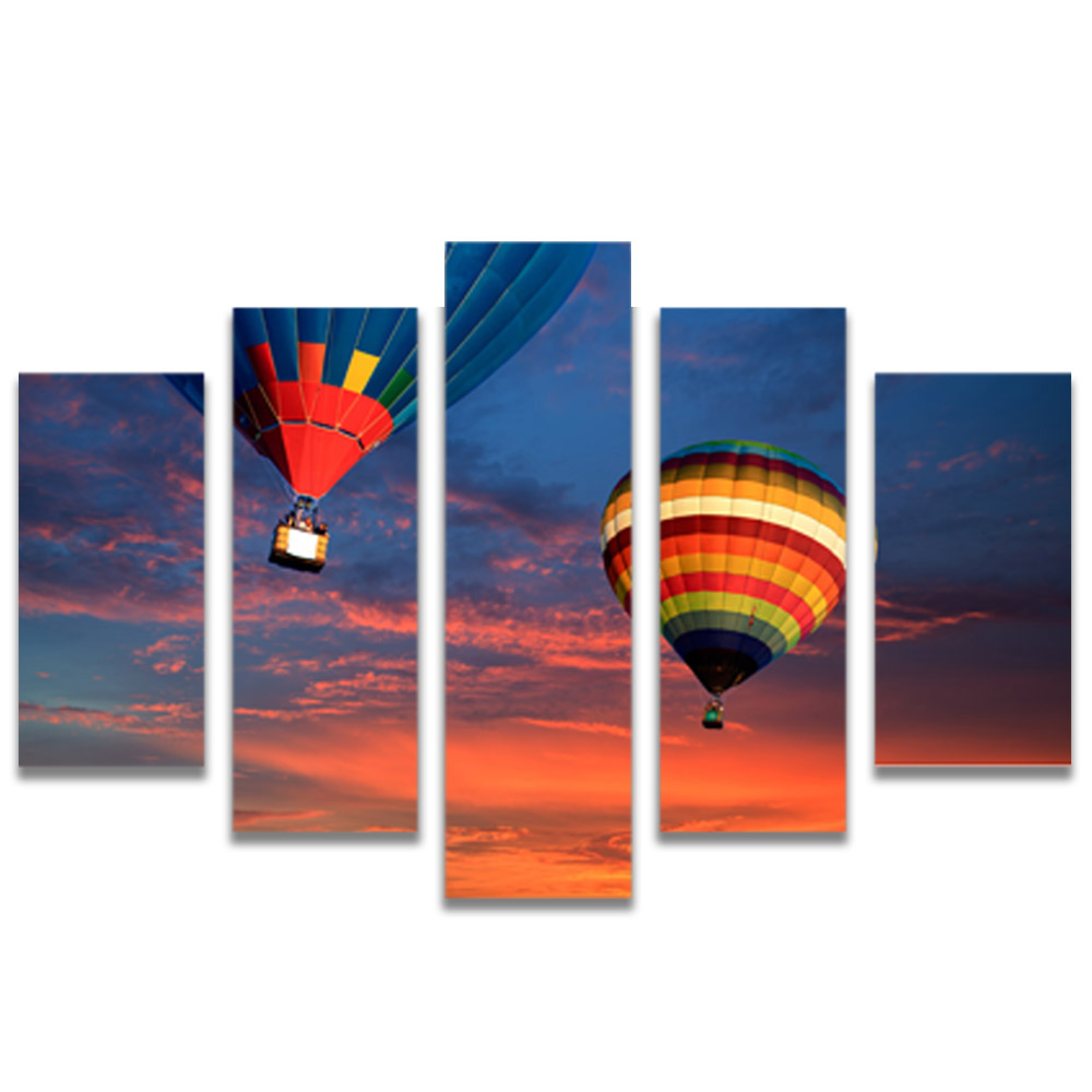 Unframed Canvas Painting Sunset Hot Air Balloon Photo Picture Prints Wall Picture For Living Room Wall Art Decoration
