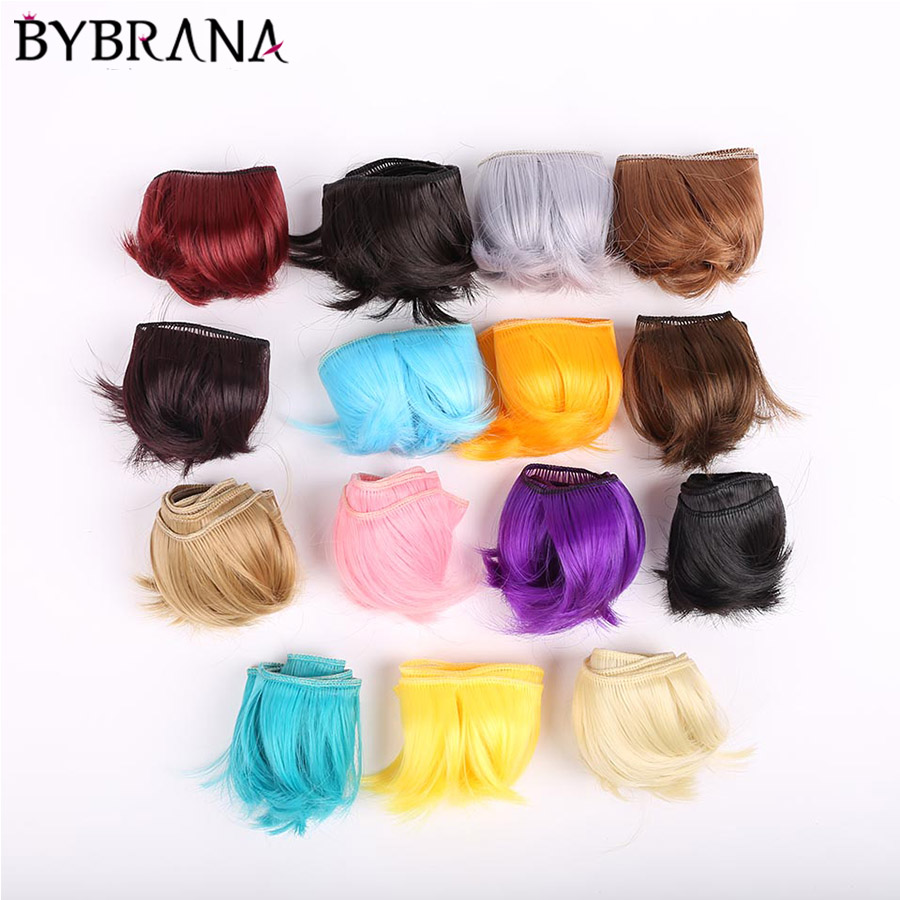 Bybrana 5cm*100cm Brown Silver Pink Hair BJD WIG SD DIY WIG For Dolls