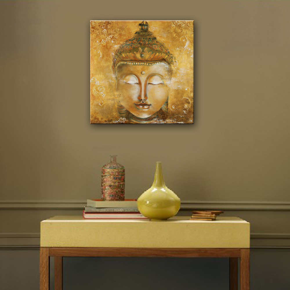 Mini Size Free Shipping Hand Painted Oil Painting Buddha Decoration Painting One Pcs Home Decor Modern