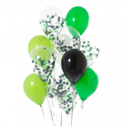 14pcs Green and Black White Mix Balloons for Dinosaur Party Kids Party Decorations Happy Birthday wild one Decor Baloon Balls