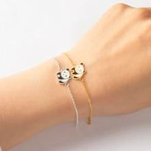 V Attract Fashion Cute China Panda Bracelet & Bangle Women Men Stainless Steel Fine Valentines Gift Hand Chain pulseira