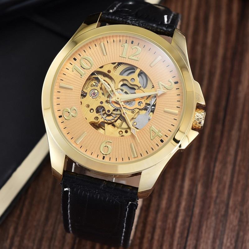 GOER brand male Wrist watch Skeleton leather men s mechanical watches Automatic Luminous digital waterproof black