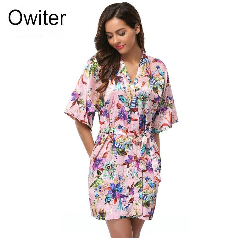 Women bathrobe Floral Kimono Robe Short Lingerie Nightdress Sexy Sleepwear V-neck Bath Robe Nightgown Bride Robes Size S-XXL