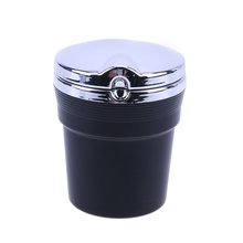 Car Black Ashtray Car Travel Cigarette Ash Holder Ashtray Car Smokeless Stand with Blue LED Light Lamp Car Interior Accessories