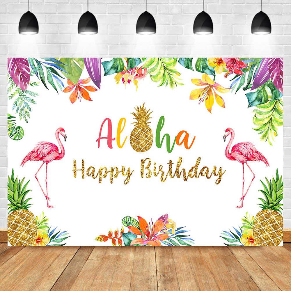 Mehofoto Flamingo Backdrop Hawaiian Party Aloha Birthday