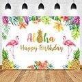 Тропический Фламинго день рождения фон Алоха с днем рождения Золотой ананас фон Гавайский день рождения фон для фотосъемки