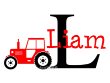 Tractor Customized Name Monogram Wall Stickers Nursery Room Vinyl Wall Decal Graphics Boys Baby Bedroom Home