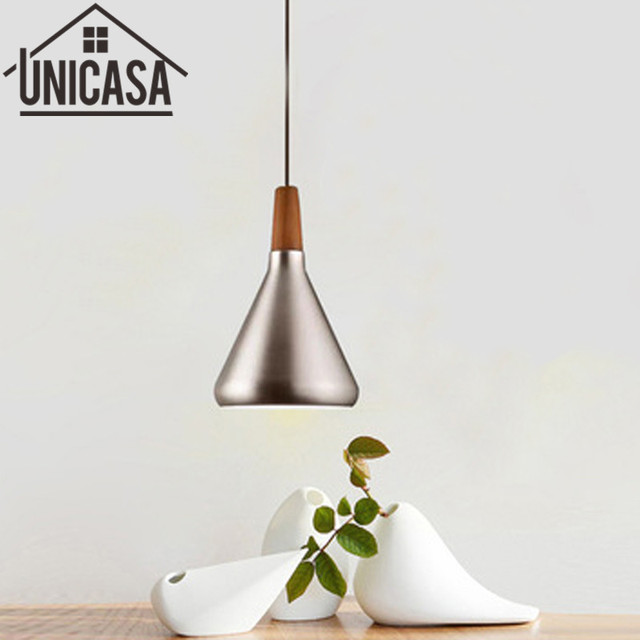 Modern Wood Ceiling Lamp Silver Shade Wrought Iron Lighting Fixtures