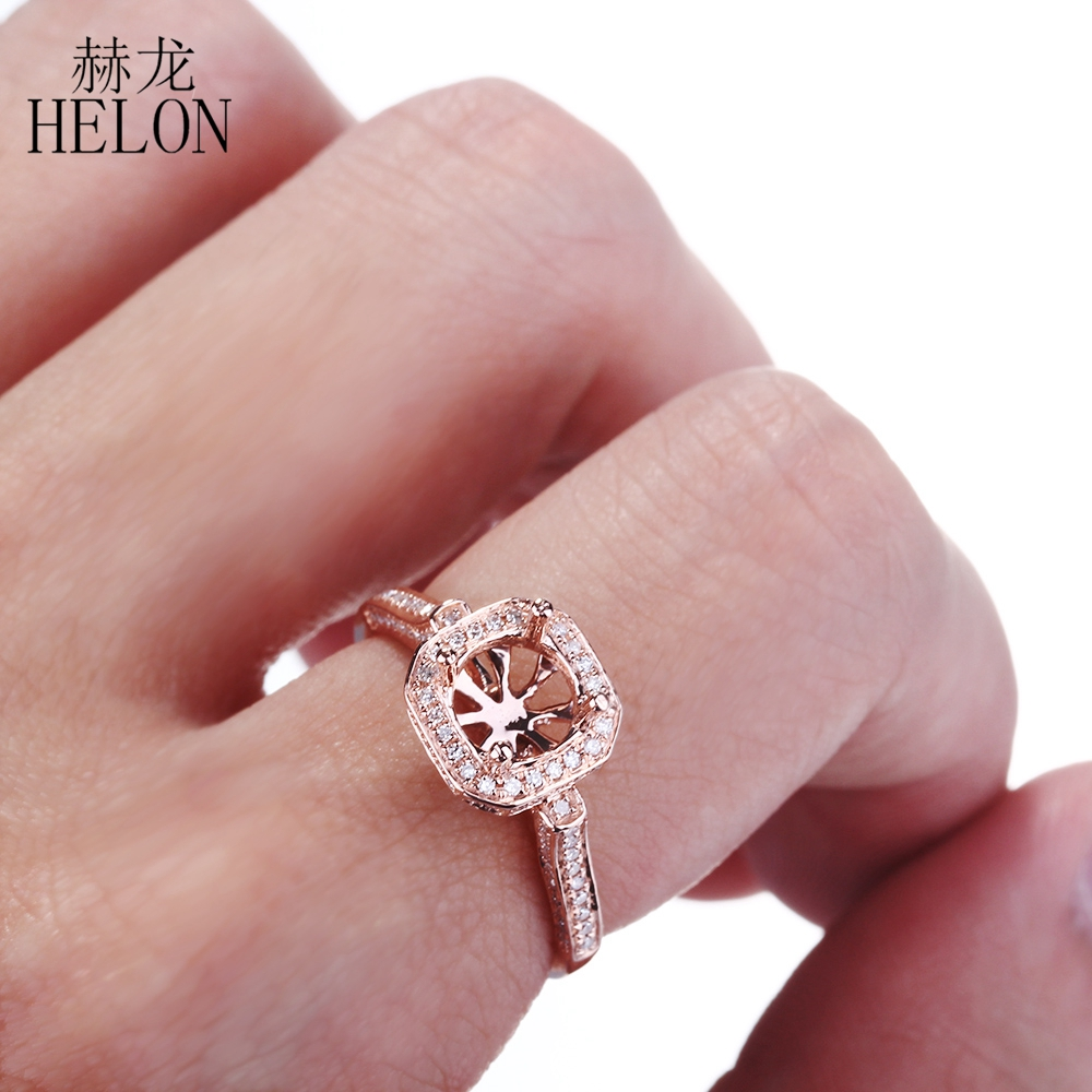 HELON 6.5mm Round Cut Solid 14K Rose Gold Semi mount Engagement ...