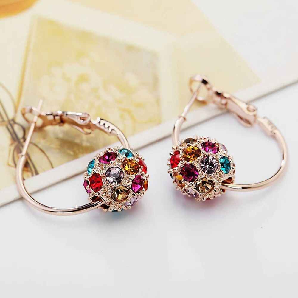 Mode Österreichischen Kristall Ball Gold/Silber Ohrringe Hohe Qualität Ohrringe Für Frau Party Hochzeit Schmuck Femme Gewählt Neue