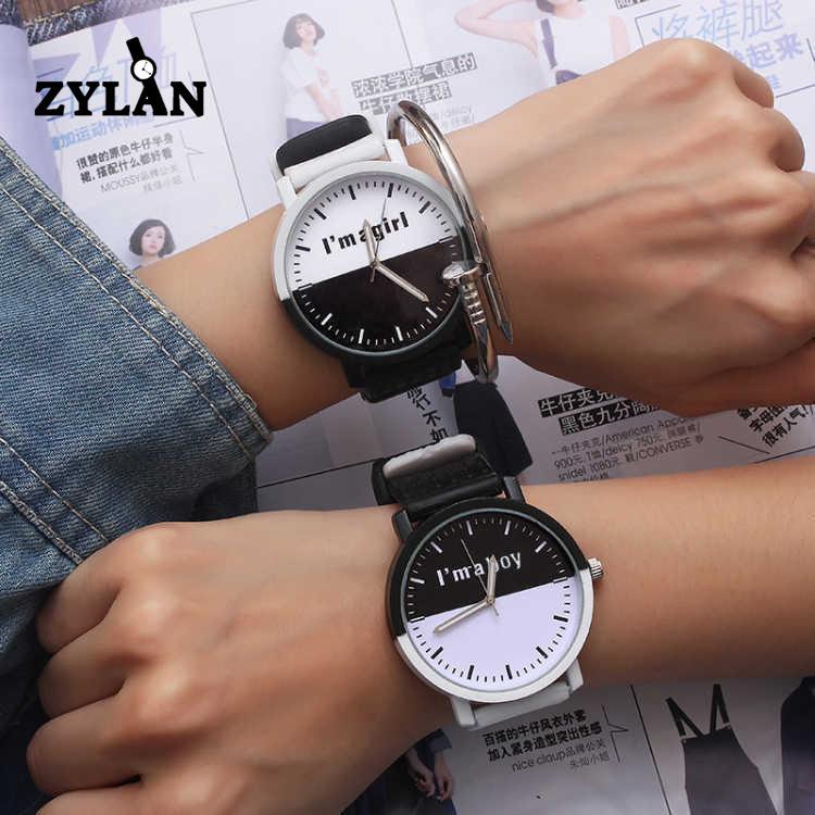 ZYLAN Fashion Black & White I am a Boy I am a Girl Men Women Watch Cute Silicone Wristwatches Student Quartz Watch Hours