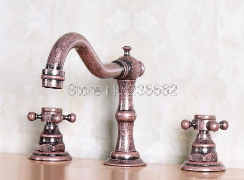 NEW Antique Copper Deck Mounted Bathroom Faucet Dual Handle Widespread Bath Tub Mixer Tap Vessel Sink Faucets lnf173