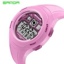 SANDA брендовые Детские спортивные часы, часы для плавания, Спортивные Повседневные цифровые часы с мультипликационным принтом для мальчиков и девочек, светодиодный, многофункциональные часы