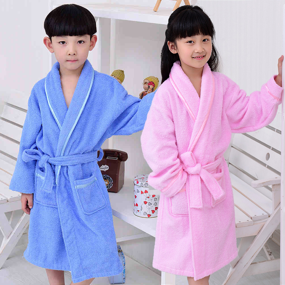 Men's Sleep & Lounge Hooded Cotton Child Bathrobe Kids Boys Girls Robe Cotton Lovely Bath Robes Dressing Gown Roupao Kids Sleepwear With Belts Retail