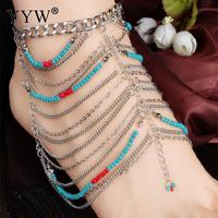 Boho Anklet Wedding Foot Jewelry Chain Barefoot Sandals Beach Foot Bracelet For Women