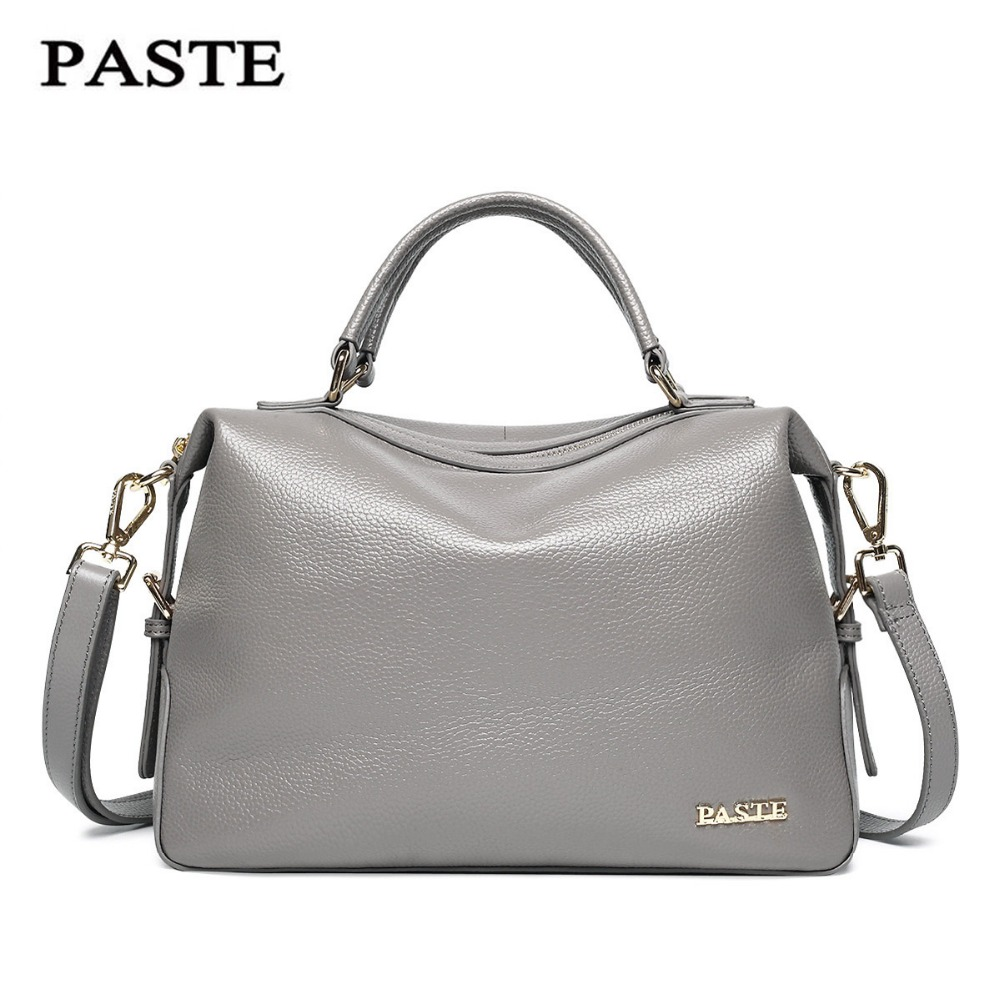 Luxury Famous Brand Natural Genuine leather women handbags European Fashion style shoulder messenger bag Elegant Grey Boston bag soft cowhide genuine leather women shoulder bags fashion handbags simple european style boston messenger bag pillow female packs