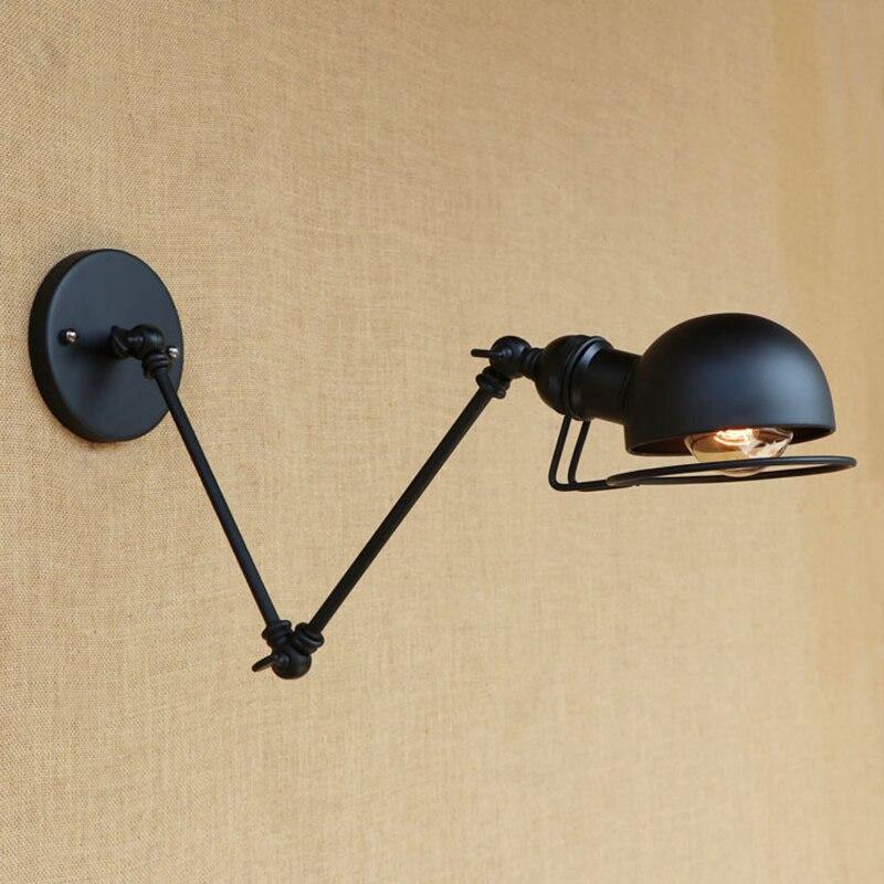 Applique murale moderne fixations de luminaire à LED avec bras flexible vintage applique murale murale murale chambre noir cuivre 110/220 v