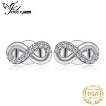Jewelrypalace 925 Sterling Silver Earrings Infinity Love Cubic Zirconia Stud Earrings Bridal Jewelry Anniversary Gifts for Women bamoer 925 sterling silver love heart shape stud earrings for women clear cubic zirconia fashion anniversary jewelry pas405