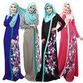 M-XL 3D Печать Цветок Мусульманин Платье Женщины Исламская Одежда Арабские Халаты для Взрослых Малайзия Турецкий Abayas Дубай Дамы Костюмы