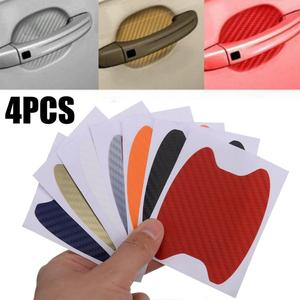 Image 2 - חם מכירות 4Pcs סיבי פחמן רכב דלת ידית אנטי שריטות מגן סרט מדבקת סט 7 צבעים זמינים