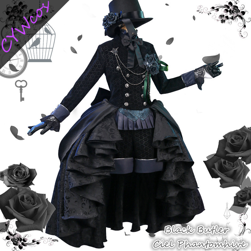 Anime Black Butler Ciel Phantomhive Comic Cosplay Costumes Black Rose Dresses Halloween Costume Women Dress Hat+Gloves+Shorts
