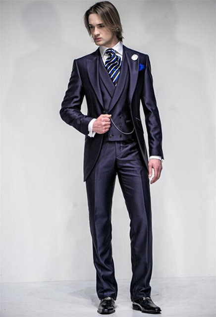 Newest Arrived Groom Tuxedo Suits Wedding Mens Three Piece Suit 2016 Top Grade Gentleman Prom